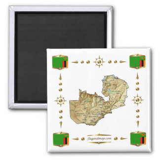 Zambia Map + Flags Magnet