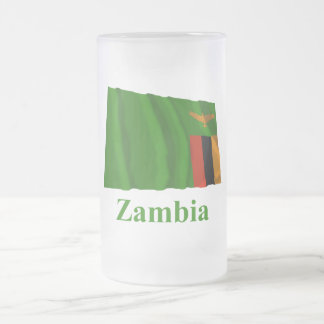Zambia Waving Flag with Name Frosted Glass Beer Mug