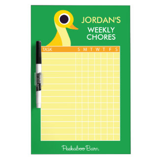 Zander the Duck Chore Chart Dry Erase Board