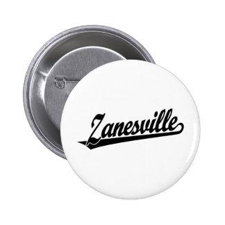 Zanesville script logo in black buttons