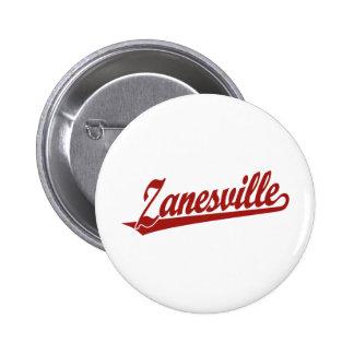 Zanesville script logo in red 2 inch round button