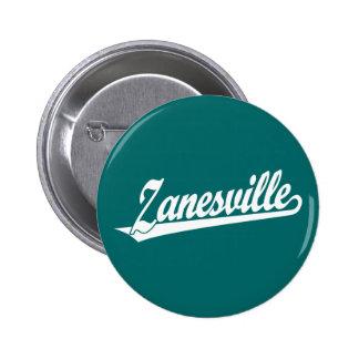 Zanesville script logo in white pinback button