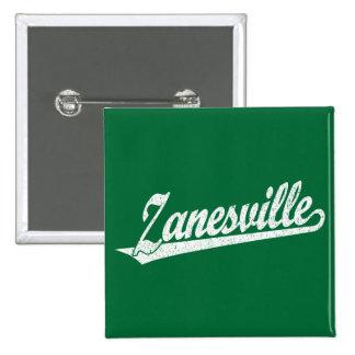Zanesville script logo in white distressed 2 inch square button