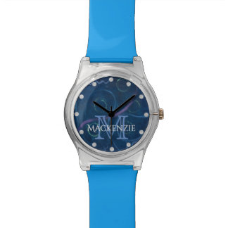 Zany Bling | Name Pastel Chalk Fun Blue Scribble Watch