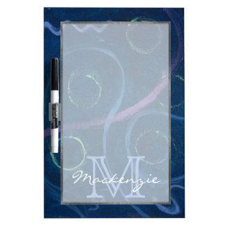 Zany Kitchen | Monogram Cute Chalk Scribble Blue Dry Erase Board