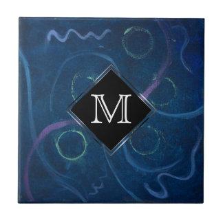 Zany Kitchen   Monogram Pastel Chalk Blue Doodle Tile