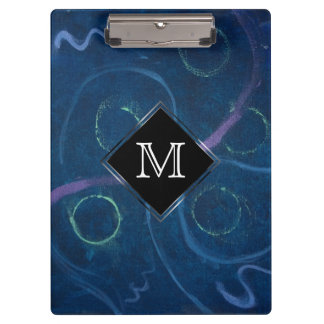 Zany Office | Monogram Trendy Pastel Chalk Blue Clipboard