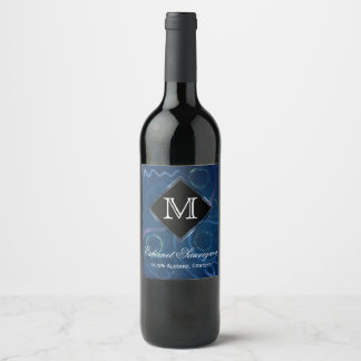 Zany Party | Monogram Cute Pastel Chalk Scribble Wine Label