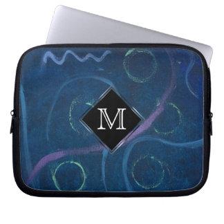Zany Tech | Monogram Chalk Pastel Fun Scribble Laptop Sleeve