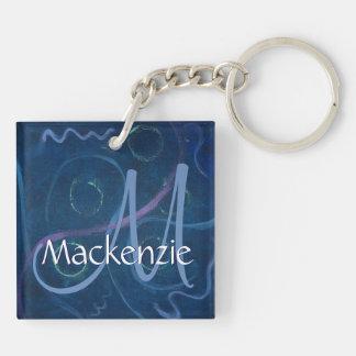Zany Unique | Monogram Pastel Chalk Blue Scribble Keychain