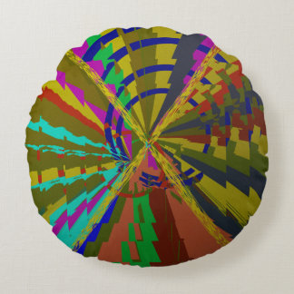 Zap Abstract Deep Colors Round Pillow