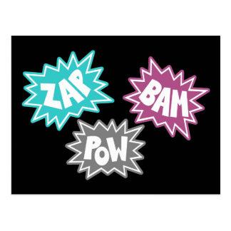 ZAP BAM POW Comic Sound FX - Pink Postcard