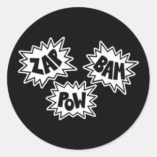 ZAP BAM POW Comic Sound FX - White Classic Round Sticker