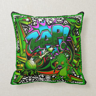 Zap Green Alien throw pillow