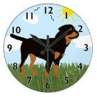 Zara the Rottweiler Large Clock