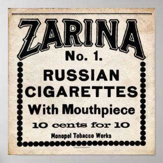 Zarina Russian Cigarette Sign