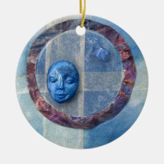 Zazen Under Azure Skies - collage Ceramic Ornament