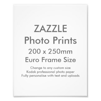 Zazzle Custom 200x 250mm Photo Print UK Frame Size
