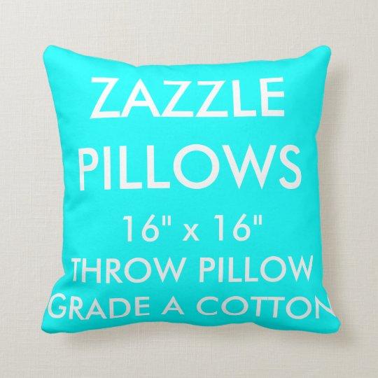 Zazzle Custom AQUA Grade A Cotton Throw Pillow