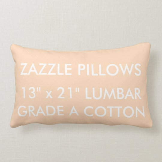Zazzle Custom PEACH Cotton Lumbar Pillow Template