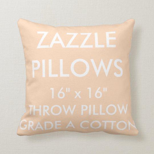 Zazzle Custom PEACH Grade A Cotton Throw Pillow