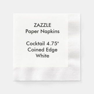 ZAZZLE Custom WHITE Coined Cocktail Paper Napkins