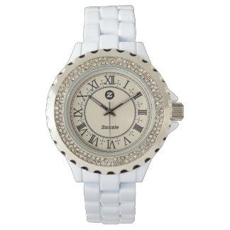 Zazzle Women's Rhinestone White Enamel Watch