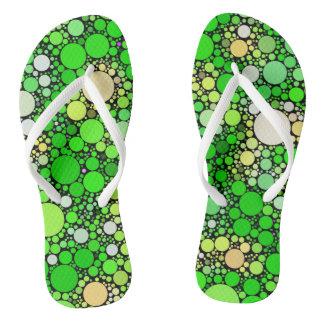 Zazzy Bubbles,green Flip Flops