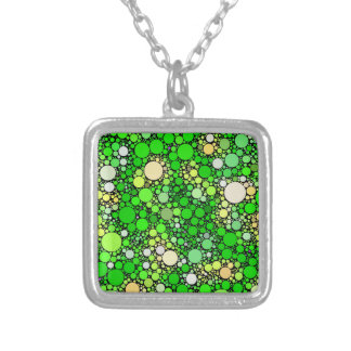 Zazzy Bubbles,green Silver Plated Necklace