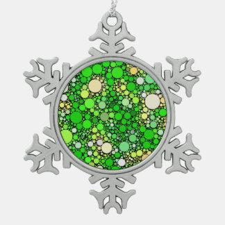 Zazzy Bubbles,green Snowflake Pewter Christmas Ornament