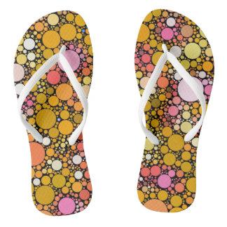 Zazzy Bubbles,orange Flip Flops