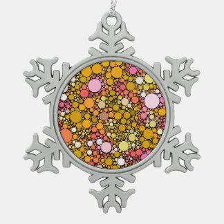 Zazzy Bubbles,orange Snowflake Pewter Christmas Ornament
