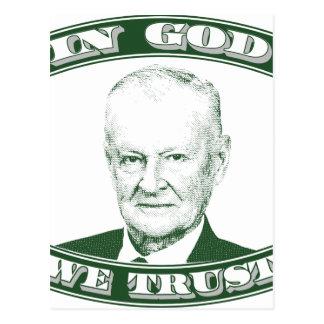 Zbigniew Brzezinski in God We trust Postcard