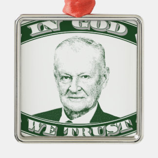 Zbigniew Brzezinski in God We trust Silver-Colored Square Ornament