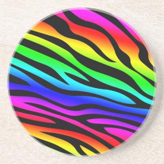 Zebbra Stripes Rainbow Drink Coaster
