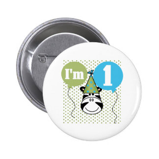 Zebra 1st Birthday 2 Inch Round Button