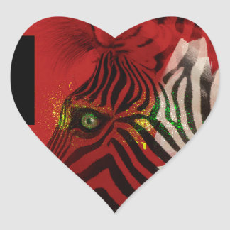 Zebra 4.0 Abstract Contemporary Art Heart Sticker
