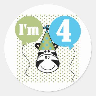 Zebra 4th Birthday T-shirts and Gifts Round Sticker