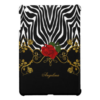 Zebra Abstract Roses Red Black White Gold iPad Mini Cover