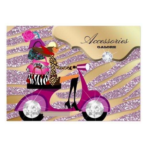 Zebra Accessories Purse Jewelry Gold Pink Sparkle Business Card Template