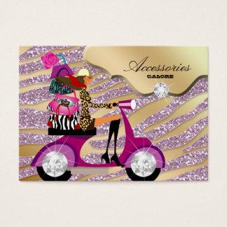Zebra Accessories Purse Jewelry Gold Pink Sparkle Business Card