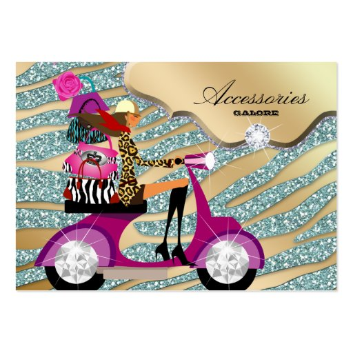 Zebra Accessories Purse Jewelry Gold Teal Sparkle Business Card Templates