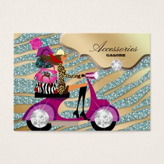 Zebra Accessories Purse Jewelry Gold Teal Sparkle Business Card