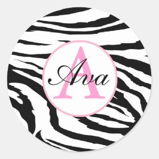 Zebra and Candy Pink Monogram Name Sticker