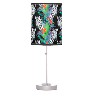 Zebra And Exotic Flowers Pattern Desk Lamp