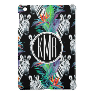 Zebra And Exotic Flowers Pattern | Monogram Cover For The iPad Mini