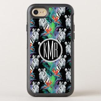 Zebra And Exotic Flowers Pattern | Monogram OtterBox Symmetry iPhone 8/7 Case