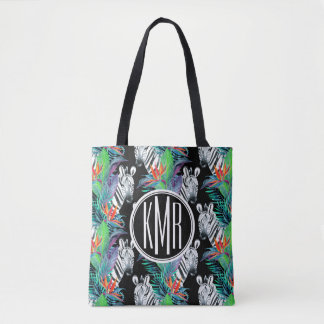 Zebra And Exotic Flowers Pattern | Monogram Tote Bag