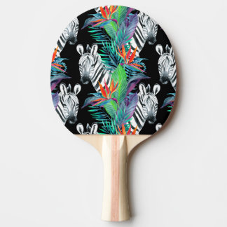 Zebra And Exotic Flowers Pattern Ping Pong Paddle