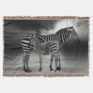 Zebra and foal throw blanket